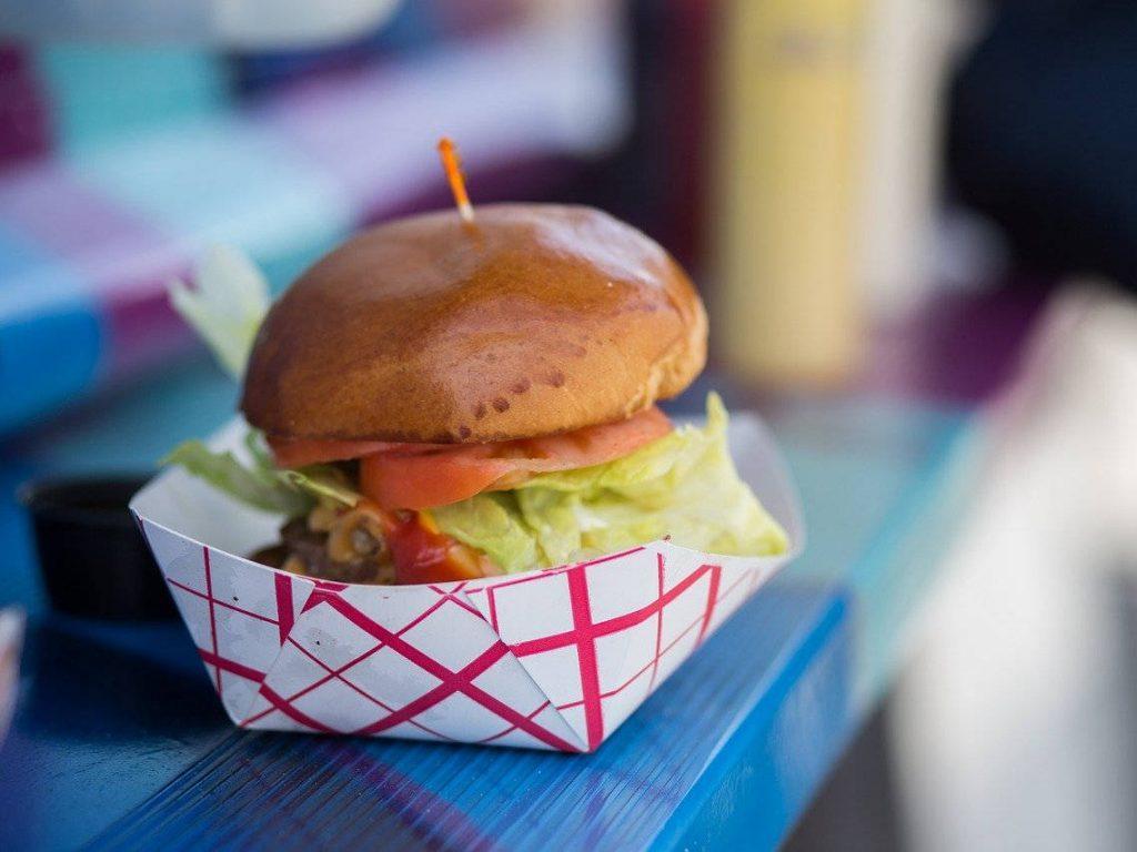 Hamburger at a food truck
