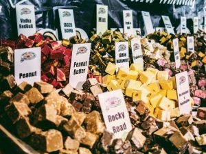 Fudge for sale at a market