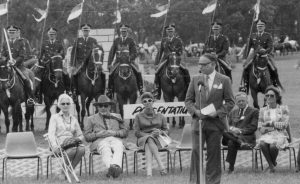 People watching a ceremony for Princess Anne's royal visit to the St Ives Show in 1979