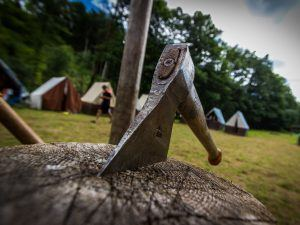 Camping with an axe in a stump