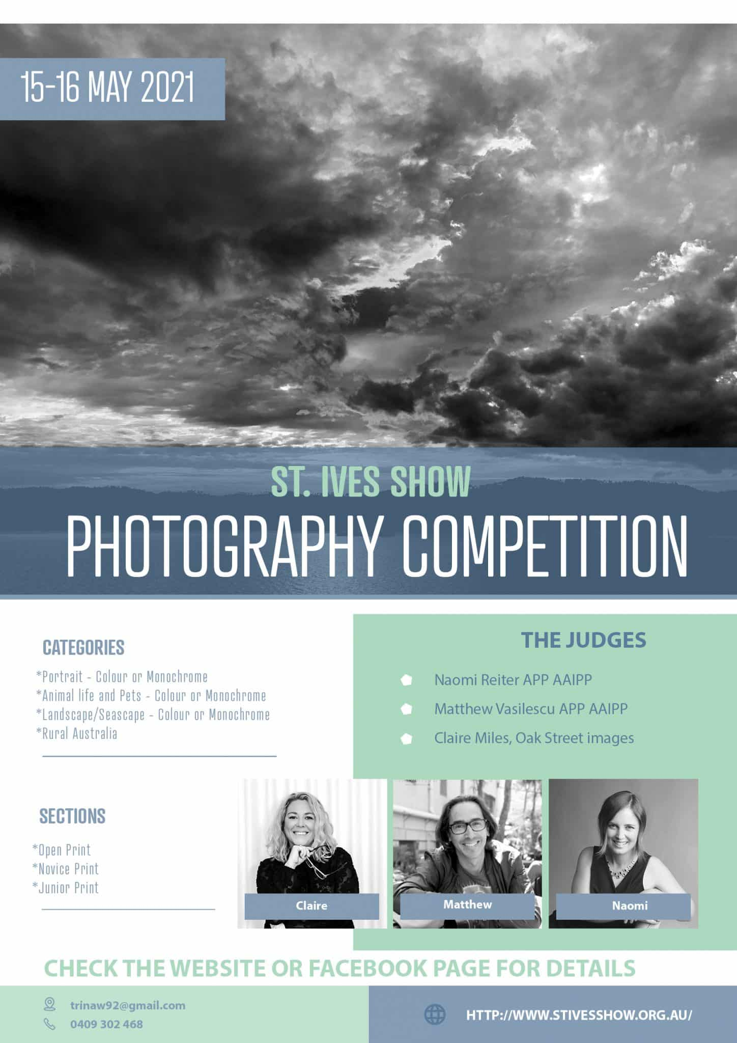 Poster info for the photography competition at St Ives Show